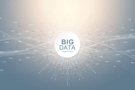 Big data visualization. Graphic abstract background Artificial Intelligence and Machine Learning. Perspective backdrop of depth. Virtual minimal array with compounds. Vector illustration Big data Иллюстрация