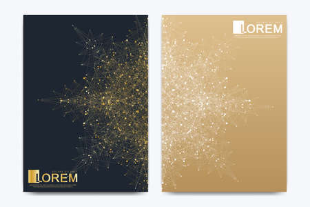 Modern vector template for brochure, leaflet, flyer, cover, banner, catalog, magazine, or annual report in A4 size. Futuristic science and technology design. Golden presentation with mandala.