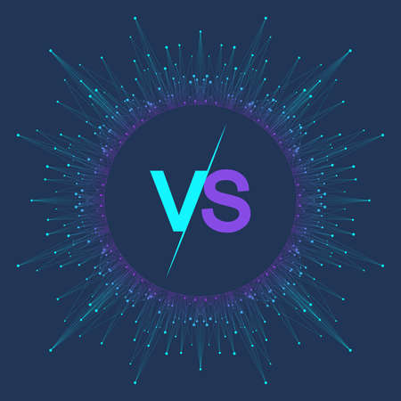 VS letters in the fractal element with connected lines and dots. Poster communication or particle compounds VS. Versus vector illustration 向量圖像