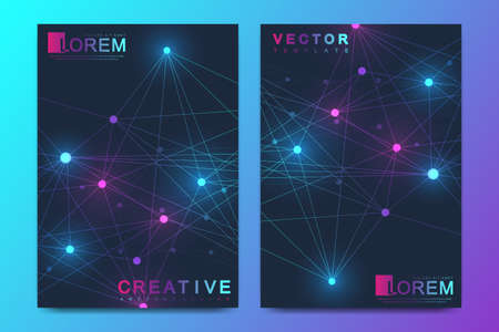 Modern vector template for brochure, leaflet, flyer, cover, banner, catalog, magazine, or annual report in A4 size. Futuristic science and technology design. Geometric graphic background molecule.  イラスト・ベクター素材