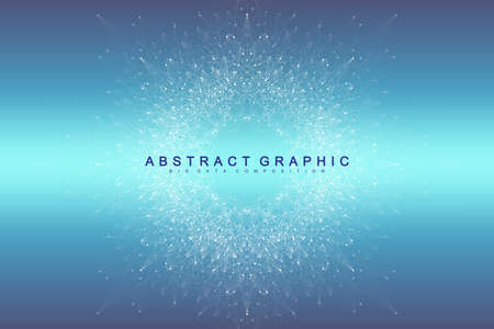 Big data visualization. Graphic abstract background Artificial Intelligence and Machine Learning. Perspective backdrop of depth. Virtual minimal array with compounds. Vector illustration Big data Ilustracja