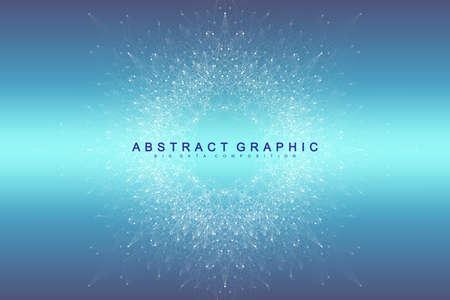 Wizualizacja dużych zbiorów danych. Graficzne abstrakcyjne tło Sztuczna inteligencja i uczenie maszynowe. Perspektywa tło głębi. Wirtualna minimalna tablica ze związkami. Ilustracja wektorowa Duże dane Ilustracje wektorowe
