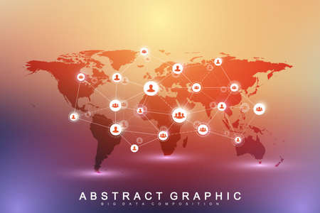 Social media network and marketing concept on World Map background. Global business concept and internet technology, Analytical networks. Vector illustration