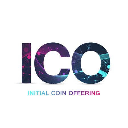 ICO Initial Coin Offering infographic web banner. Initial coin offering promo poster with world map. Cryptocurrency e-commerce texture conceptStartup, Blockchain diagram, vector illustration.