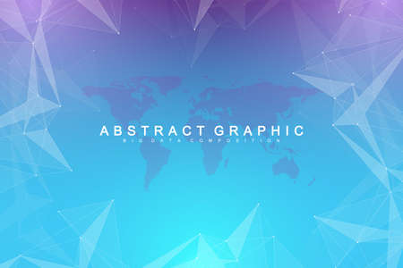 Big data visualization. Graphic abstract background communication. Perspective backdrop visualization. Analytical network complex. Vector illustration