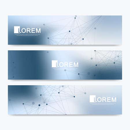 Abstrakter Vektorsatz moderne Websitefahnen. Wissenschaftlicher Kybernetikhintergrund mit farbigen dynamischen Linien und Partikeln. Molekül- und Kommunikationshintergrund.