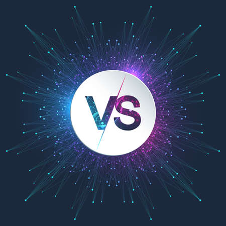VS letters in the fractal element with connected lines and dots. Poster communication or particle compounds VS. Versus vector illustration Illustration