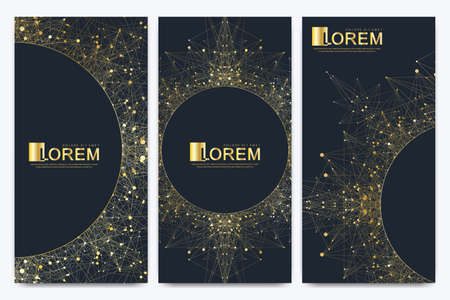 Chocolate bar packaging set. Trendy luxury product branding template with label pattern for packaging. Geometric abstract golden package with mandala. Connected line with dots. Vector illustration. Archivio Fotografico - 125796435