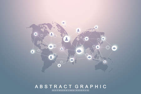 Social media network and marketing concept on World Map background. Global business concept and internet technology, Analytical networks. Vector illustration. Ilustrace