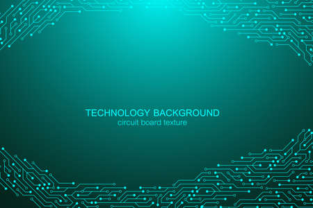 Computer motherboard vector background with circuit board electronic elements. Electronic texture for computer technology, engineering concept. Motherboard integrated computing illustration.