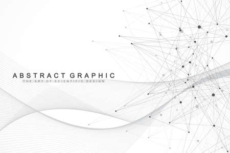 Fondo abstracto geométrico con puntos y líneas conectadas. Flujo de olas. Molécula y antecedentes de comunicación. Fondo gráfico para su diseño. Ilustración vectorial Ilustración de vector