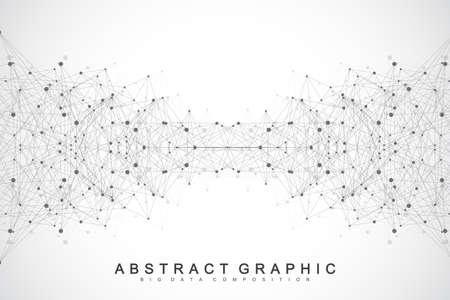 Molécula de fondo gráfico geométrico y comunicación. Gran complejo de datos con compuestos. Perspectiva de fondo. Matriz mínima. Visualización de datos digitales. Ilustración cibernética científica del vector