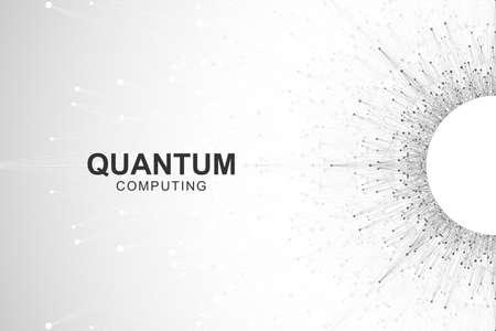 Quantum computer technology concept. Deep learning artificial intelligence. Big data algorithms visualization for business, science, technology. Waves flow, dots, lines. Quantum vector illustration Vecteurs
