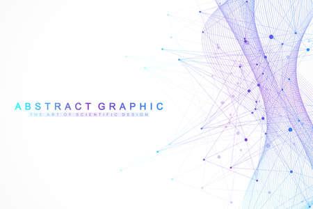 Abstrakter Hintergrund der Technologie mit verbundener Linie und Punkten. Big-Data-Visualisierung. Hintergrund des Konzepts für künstliche Intelligenz und maschinelles Lernen. Analytische Netzwerke. Vektor-Illustration