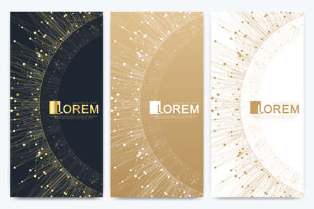 Chocolate bar packaging set. Trendy luxury product branding template with label pattern for packaging. Geometric abstract golden package with mandala. Connected line with dots. Vector illustration. Archivio Fotografico - 125161930