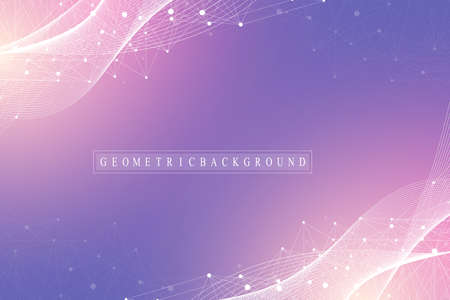 Technology abstract background with connected line and dots. Big data visualization. Artificial Intelligence and Machine Learning Concept Background. Analytical networks. Wave flow, vector.