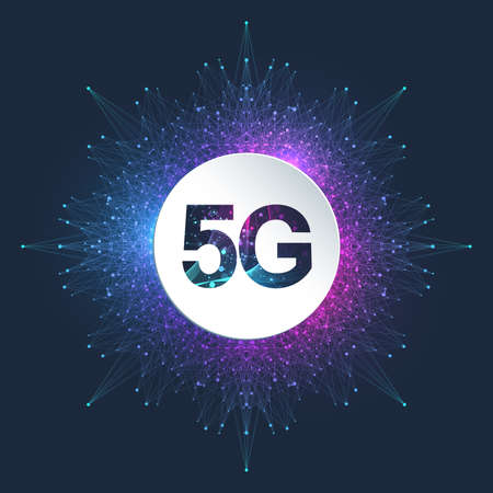 5G network wireless system and internet connection background. 5G symbol communication network. Business technology concept banner. Vector illustration