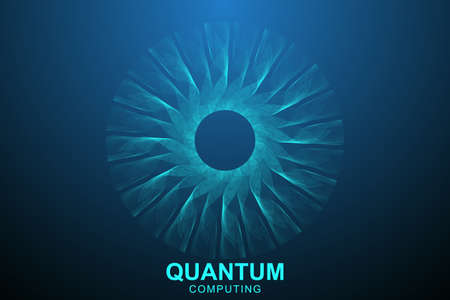 Quantum computer technology concept. Deep learning artificial intelligence. Big data algorithms visualization for business, science, technology. Waves flow. Vector illustration Imagens - 124880033