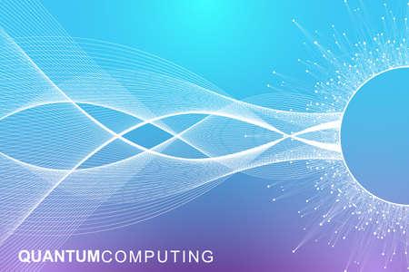 Concept de technologie informatique quantique. Apprentissage profond de l'intelligence artificielle. Visualisation d'algorithmes de Big Data pour les entreprises, la science, la technologie. Les vagues coulent. Illustration vectorielle