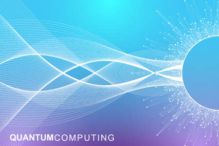 Quantum computer technology concept. Deep learning artificial intelligence. Big data algorithms visualization for business, science, technology. Waves flow. Vector illustration Imagens - 124880036
