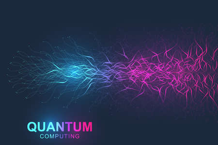 Quantum computer technology concept. Deep learning artificial intelligence. Big data algorithms visualization for business, science, technology. Waves flow. Vector illustration Imagens - 124880041