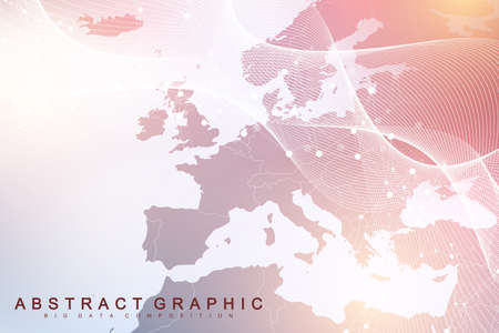 Technology abstract background with connected line and dots. Big data visualization. Artificial Intelligence and Machine Learning Concept Background. Analytical networks. Vector illustration. Ilustracja