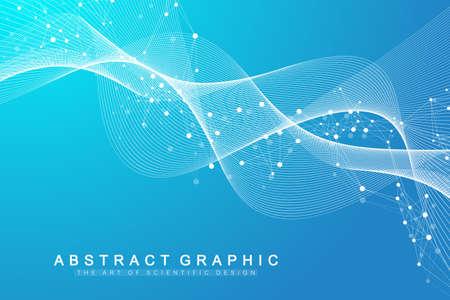 Structure molecule and communication. Dna, atom, neurons. Scientific molecule background for medicine, science technology chemistry. Vector illustration. Vector Illustratie
