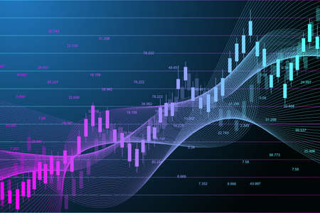 Stock market or forex trading graph chart suitable for financial investment concept. Economy trends background for business idea. Abstract finance background. Vector illustration. Illustration