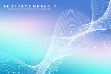 Scientific vector illustration genetic engineering and gene manipulation concept. DNA helix, DNA strand, molecule or atom, neurons. Abstract structure for Science or medical background. Wave flow. Zdjęcie Seryjne - 124762625
