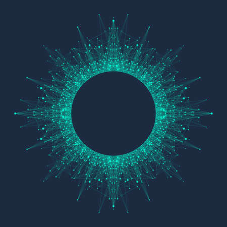 Concept de technologie informatique quantique. Apprentissage profond de l'intelligence artificielle. Visualisation d'algorithmes de Big Data pour les entreprises, la science, la technologie. Les vagues coulent. Illustration vectorielle.