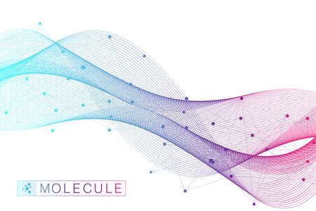 Scientific vector illustration genetic engineering and gene manipulation concept. DNA helix, DNA strand, molecule or atom, neurons. Abstract structure for Science or medical background. Wave flow Ilustracja