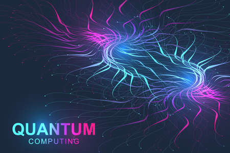Quantum computer technology concept. Deep learning artificial intelligence. Big data algorithms visualization for business, science, technology. Waves flow. Vector illustration. Imagens - 124762640