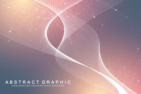 Scientific vector illustration genetic engineering and gene manipulation concept. DNA helix, DNA strand, molecule or atom, neurons. Abstract structure for Science or medical background. Wave flow. Zdjęcie Seryjne - 124762645
