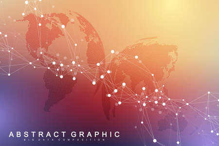 Big data visualization. Graphic abstract background Artificial Intelligence. Social network connection concept. Perspective backdrop of depth. Virtual minimal array with compound. Vector illustration Zdjęcie Seryjne - 124762651