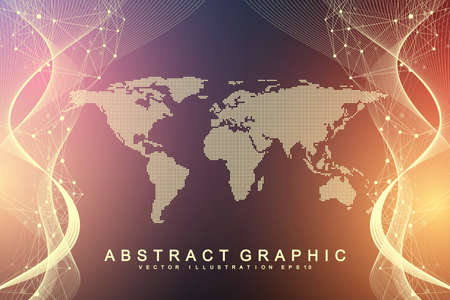 Geometric abstract background with connected line and dots. Network and connection background for your presentation. Graphic polygonal background. Scientific vector illustration.  イラスト・ベクター素材