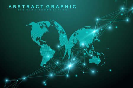 Big data visualization. Graphic abstract background communication. Perspective backdrop visualization. Analytical network visualization. Vector illustration.