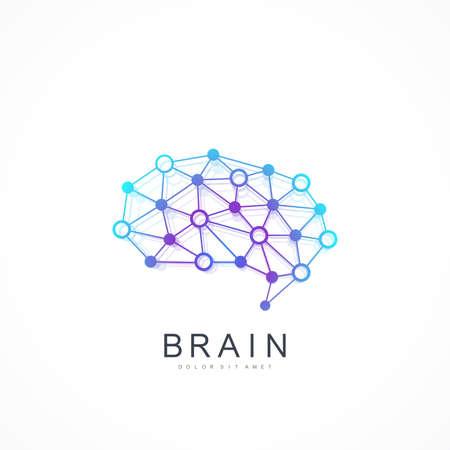 Buntes Vektor-Schablonen-Gehirn-Logo. Künstliche Intelligenz-Logo. Konzept für künstliche Intelligenz und maschinelles Lernen. Vektorsymbol AI. Kreative Idee Konzept Design Gehirn Logo-Symbol. Logo