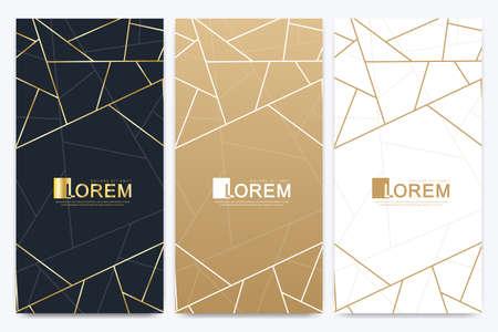 Ensemble d'emballage de barre de chocolat. Modèle de marque de produit de luxe à la mode avec motif d'étiquette pour l'emballage. Paquet doré abstrait avec fond de texture et lignes géométriques dorées. Illustration vectorielle
