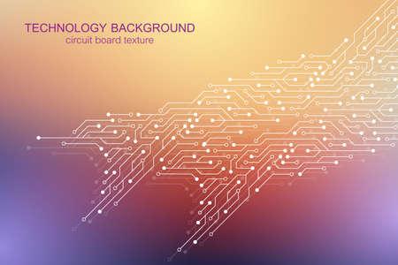 Computer-Motherboard-Vektorhintergrund mit elektronischen Elementen der Leiterplatte. Elektronische Textur für Computertechnologie, Engineering-Konzept. Motherboard-integrierte Computerillustration. Vektorgrafik