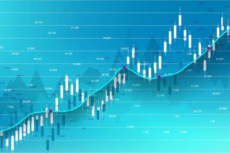 Marché boursier et échange. Graphique graphique de bâton de bougie d'affaires du trading d'investissement en bourse Données boursières. Point haussier, tendance du graphique. Illustration vectorielle. Vecteurs