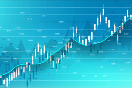 Stock market and exchange. Business Candle stick graph chart of stock market investment trading. Stock market data. Bullish point, Trend of graph. Vector illustration. Illustration