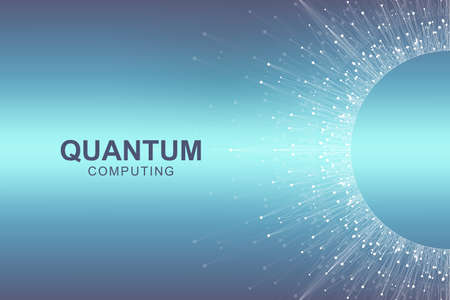 Quantum computer technology concept. Deep learning artificial intelligence. Big data algorithms visualization for business, science, technology. Waves flow, dots, lines. Quantum vector illustration Illustration