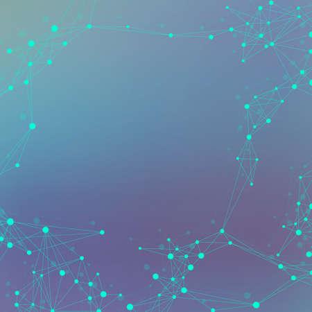 Fondo abstracto de tecnología con puntos y líneas conectadas. Visualización de big data. Antecedentes del concepto de inteligencia artificial y aprendizaje automático. Redes analíticas. Ilustración de vector. Ilustración de vector
