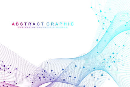 Technology abstract background with connected line and dots. Big data visualization. Artificial Intelligence and Machine Learning Concept Background. Analytical networks. Vector illustration. Ilustração