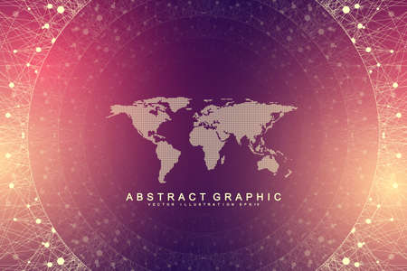 Geometric abstract background with connected line and dots. Network and connection background for your presentation. Graphic polygonal background. Scientific vector illustration. Ilustrace