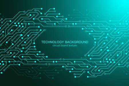 Computer motherboard vector background with circuit board electronic elements. Electronic texture for computer technology, engineering concept. Motherboard computer generated abstract illustration.  イラスト・ベクター素材