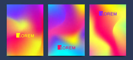 Creative vector template for brochure, leaflet, flyer, cover, catalog, banner, card. Abstract fluid gradient shapes vector trendy liquid colors backgrounds set. Grid texture vector illustration Stock Illustratie