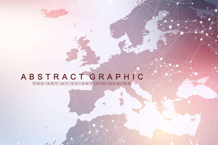 Technology abstract background with connected line and dots. Big data visualization. Perspective backdrop visualization. Analytical networks. Vector illustration Stock Illustratie