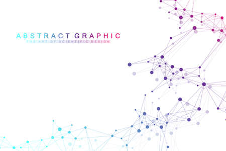 Geometric abstract background with connected line and dots. Network and connection background for your presentation. Graphic polygonal background. Scientific vector illustration. Ilustração