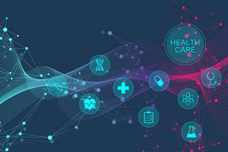 Medical abstract background with health care icons. Medical technology network concept. Connected lines and dots, wave flow, molecules, DNA. Medical background for your design. Vector illustration. Ilustração
